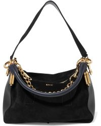 Sacai - Coin Purse Suede And Leather Shoulder Bag - Lyst