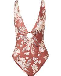 Zimmermann - Wayfarer Ring-embellished Floral-print Swimsuit - Lyst