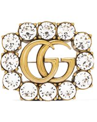 Gucci - Gold-tone Crystal Brooch Gold One Size - Lyst