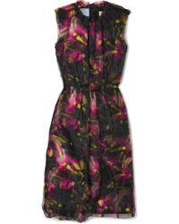 Prada - Floral-print Jersey And Organza Midi Dress - Lyst
