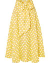 Lisa Marie Fernandez - Polka-dot Linen Midi Skirt - Lyst