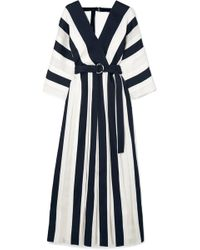 Adam Lippes - Belted Striped Cotton And Silk-blend Midi Dress - Lyst