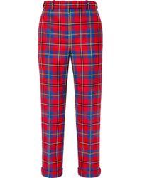 Versace - Tartan Wool Straight-leg Trousers - Lyst