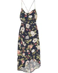Alice + Olivia - Reena Wrap-effect Floral-print Matte-satin Dress - Lyst