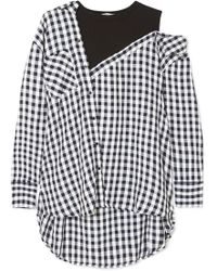 Maje - Layered Gingham Crepe And Cotton-blend Jersey Blouse - Lyst