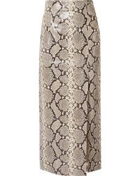 Attico - Snake-effect Leather Midi Skirt - Lyst