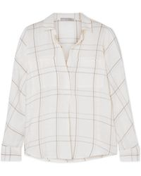 Vince - Bar Plaid Checked Brushed Cotton-blend Shirt - Lyst