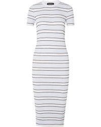 Markus Lupfer - Mary Striped Plissé-knit Midi Dress - Lyst