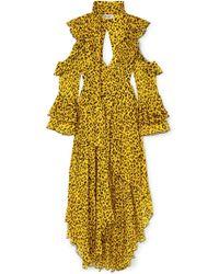 Diane von Furstenberg - Ruffled Leopard-print Silk-georgette Wrap Maxi Dress - Lyst