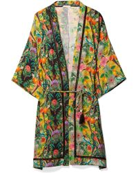 Matthew Williamson - Mediterranean Medley Lattice-trimmed Printed Silk-chiffon Kimono - Lyst