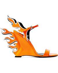 Prada - Neon Patent-leather Wedge Sandals - Lyst