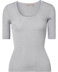 Michael Kors - Metallic Ribbed-knit Sweater - Lyst