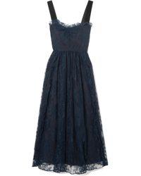 ALEXACHUNG - Gathered Velvet-trimmed Chantilly Lace Midi Dress - Lyst