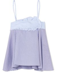 Carven - Striped Cotton-poplin Camisole - Lyst