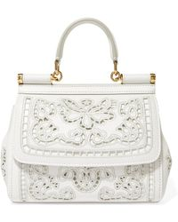 Dolce & Gabbana - Sicily Small Cutout Embroidered Leather Tote - Lyst