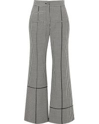 Loewe - Leather-trimmed Houndstooth Wool Wide-leg Trousers - Lyst