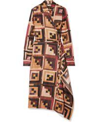 Rosetta Getty - Printed Silk-twill Midi Dress - Lyst