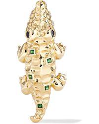 Yvonne Léon - 18-karat Gold, Diamond And Tsavorite Earring - Lyst