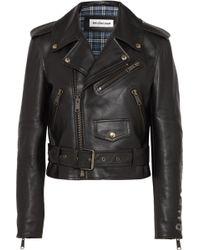 Balenciaga - Cropped Printed Leather Biker Jacket - Lyst