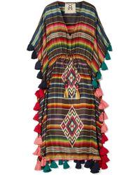 Figue - Amrita Tasselled Striped Silk-habotai Kaftan - Lyst