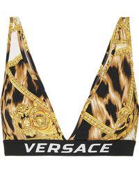 930887a146a8f Versace - Printed Stretch-jersey Soft-cup Triangle Bra - Lyst