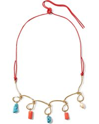 Marni | Gold-tone, Leather, Resin And Faux Pearl Necklace | Lyst