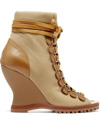 Chloé - River Ankle Boots Aus Canvas Und Leder Mit Keilabsatz - Lyst