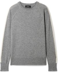 Theory - Athletic Striped Cashmere Sweater - Lyst