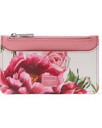 Dolce & Gabbana - Floral-print Textured-leather Cardholder - Lyst