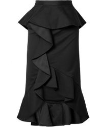 Alice + Olivia - Alessandra Ruffled Cotton-blend And Satin Midi Skirt - Lyst