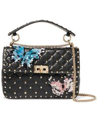 3bb81210d0a2 Valentino - Garavani The Rockstud Spike Medium Appliquéd Quilted Leather Shoulder  Bag - Lyst