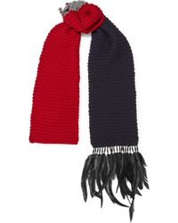 Prada | Beaded Feather-trimmed Wool Scarf | Lyst