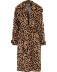 Michael Kors - Leopard-print Llama And Wool-blend Coat - Lyst
