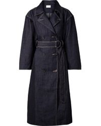 Current/Elliott - The Hh Club Belted Double-breasted Denim Trench Coat - Lyst
