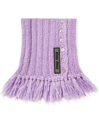 Miu Miu - Fringed Mohair-blend Snood - Lyst