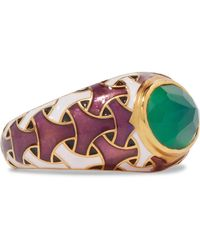 Percossi Papi - Gold-tone, Enamel And Agate Ring - Lyst