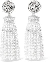 Oscar de la Renta - Crystal And Faux Pearl Clip Earrings - Lyst