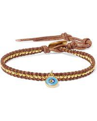 Chan Luu - Evil Eye Leather, Gold-plated And Enamel Bracelet - Lyst