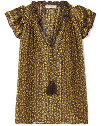 Ulla Johnson - Doria Metallic Floral-print Silk-blend Georgette Top - Lyst