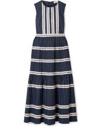 RED Valentino - Rickrack-trimmed Cotton-poplin Midi Dress - Lyst