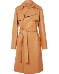 Michael Kors - Belted Leather Trench Coat - Lyst