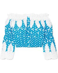 Miguelina - Ari Off-the-shoulder Crocheted Polka-dot Cotton Top - Lyst