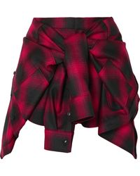 Alexander Wang - Tie-front Checked Wool-flannel Shorts - Lyst