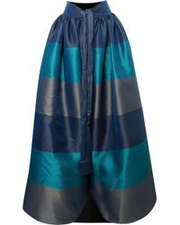 Alexis Mabille - Bow-detailed Embellished Striped Satin-piqué Maxi Skirt - Lyst