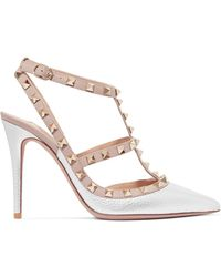 Valentino - Rockstud Metallic Textured-leather Court Shoes - Lyst