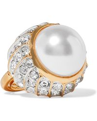 Kenneth Jay Lane - Gold-plated, Crystal And Faux Pearl Ring - Lyst