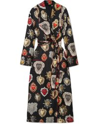 Dolce & Gabbana - Printed Silk-twill Robe - Lyst