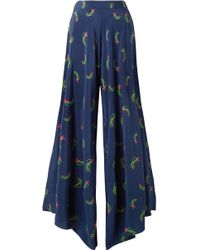 Jaline - Charlotte Floral-print Silk Crepe De Chine Wide-leg Pants - Lyst