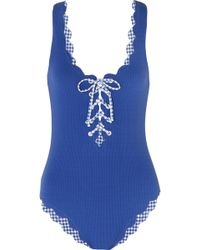 Marysia Swim - Palm Springs Scalloped Lace-up Stretch-crepe Swimsuit - Lyst