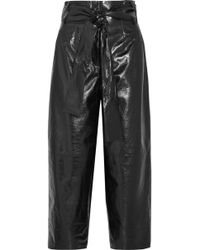 Valentino - Glossed Textured-leather Culottes - Lyst